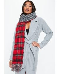Missguided - Red Double Face Plaid Scarf - Lyst