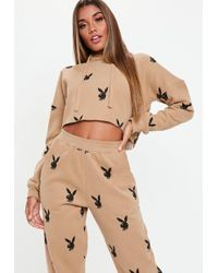 Missguided - Playboy X Tan Playboy Repeat Print Cropped Hoodie - Lyst