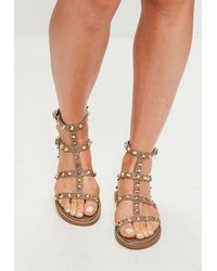 Missguided Brown Studded Gladiator Sandals