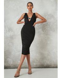 Missguided Diamante Buckle Bandage Midi Dress - Black