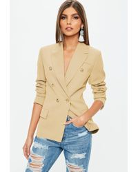 Missguided - Nude Military Blazer - Lyst
