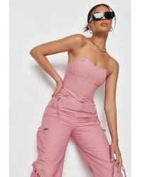 Missguided Blush Corset Bandeau Crop Top - Pink
