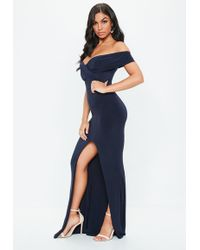 Missguided - Navy Bardot Wrap Slit Slinky Maxi Dress - Lyst