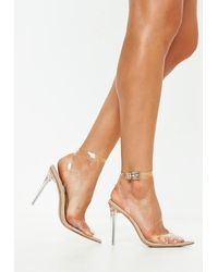 Missguided Nude Clear Ankle Strap Court Shoes - Natural