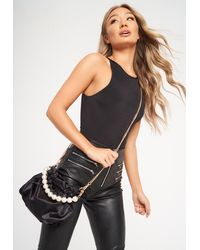 Missguided Black Satin Pearl Handle Pouch Bag