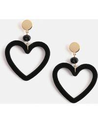 Missguided - Black Fabric Heart Earrings - Lyst