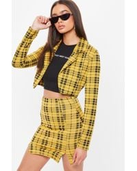 Missguided - Yellow Check Cropped Blazer - Lyst
