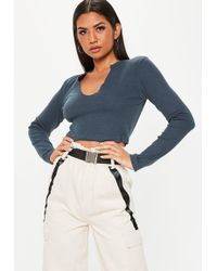 0ee794ab7e9b8 White Long Sleeve Lace Crop Top.  25. Missguided · Missguided - Tall Navy Long  Sleeve Notch Front Crop Top - Lyst