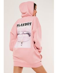 Missguided X Pink Graphic Print Hoodie Sweater Dress
