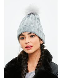 Missguided - Grey Metallic Faux Fur Pom Pom Beanie Hat - Lyst 3becc82ad3d7