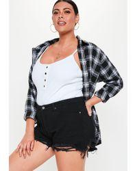 Missguided - Plus Size Black Extreme Rip Hem High Waist Shorts - Lyst
