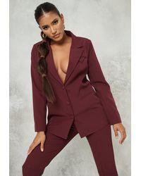 Missguided - Plum Co Ord Tailored Longline Cravet Blazer - Lyst