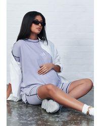 Missguided Lilac Co Ord Mama Acid Wash Maternity T Shirt - Purple