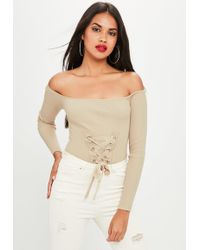Missguided - Nude Lace Up Knitted Bodysuit - Lyst