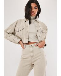 Missguided Co Ord Cropped Raw Hem Denim Jacket - Natural