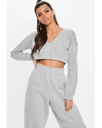 eef494db9 Missguided Grey Scrunch Top Extreme Wide Leg Joggers in Gray - Lyst