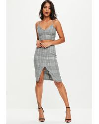 Missguided Gray Dog Tooth Check Co Ord Set