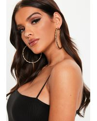 Missguided - Gold Look Oversized Twisted Hoop Earrings - Lyst