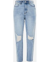 Missguided Blue Highwaisted Distressed Knee Mom Jeans