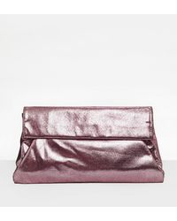 Missguided - Pink Metallic Roll Top Clutch Bag - Lyst