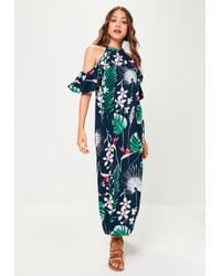 Missguided - Navy Printed Palm Maxi Dress - Lyst