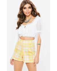 Missguided - Yellow Scuba Plaid Shorts - Lyst