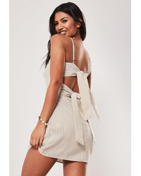 Missguided - Nude Stripe Tie Back Cami Shift Dress - Lyst