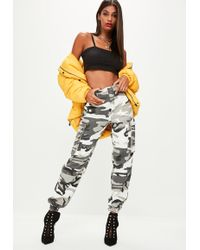 Missguided - Grey Camo Printed Cargo Pants - Lyst