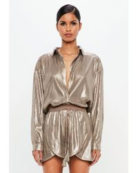 Missguided - Peace + Love Bronze Sequin Shirt - Lyst