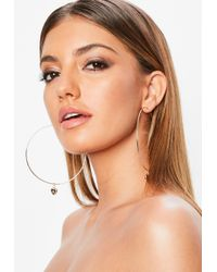 Missguided Gold Look Hoop With Heart Charm - Metallic