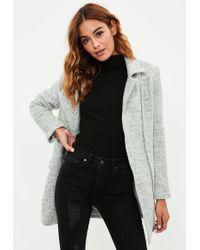 Missguided - Petite Grey Wool Biker Coat - Lyst