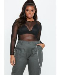 Missguided - Plus Size Black Roundneck Mesh Bodysuit - Lyst 7637f0513