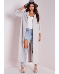 Missguided - Long Sleeve Maxi Duster Jacket Grey - Lyst