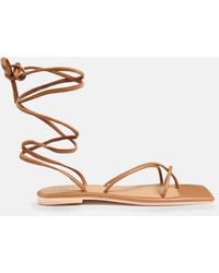 Missguided Tan Lace Up Flat Sandals - Brown