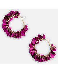 Missguided - Pink Sequin Detail Hoop Earrings - Lyst