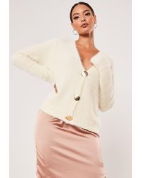 Missguided Sand Boxy Button Fluffy Cardigan - Natural