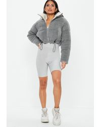 Missguided - Grey Reversible Borg Cropped Puffer Jacket - Lyst