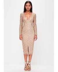 Missguided - Peace + Love Nude Long Sleeve Embellished Split Dress - Lyst