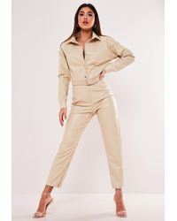 Missguided Faux Leather Button Down Playsuit - Natural