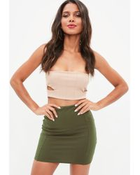 Missguided - Khaki Bodycon Mini Skirt - Lyst
