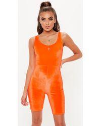 Missguided - Neon Orange Velour Unitard - Lyst