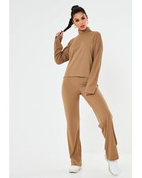 Missguided Co Ord Ribbed Wide Leg Pants - Natural