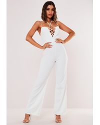 Missguided Lace Up Wide Leg Playsuit - White