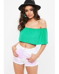 Missguided - Green Frill Bardot Crop Top - Lyst