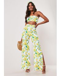 Missguided Yellow Lemon Print Bandeau Top And Wide Leg Trousers Co Ord Set