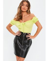 2116a63b2 Missguided Black Faux Leather Lace Up Mini Skirt in Black - Lyst