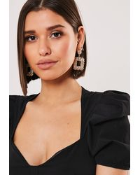 Missguided Gold Look Textured Square Drop Earrings - Metallic