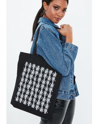 Missguided - Black Printed Detail Canvas Shopper - Lyst