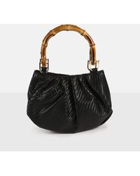 Missguided Woven Bamboo Handle Bag - Black