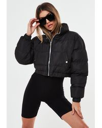 Missguided Cropped Padded Puffer Jacket - Black
